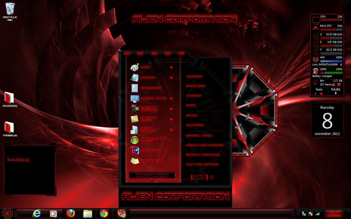 Red And Black Windows 7 Themes windows 7 theme alien