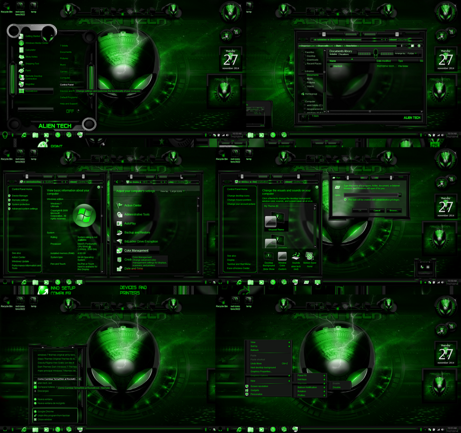 windows 7 themes alien tech... green by tono3022