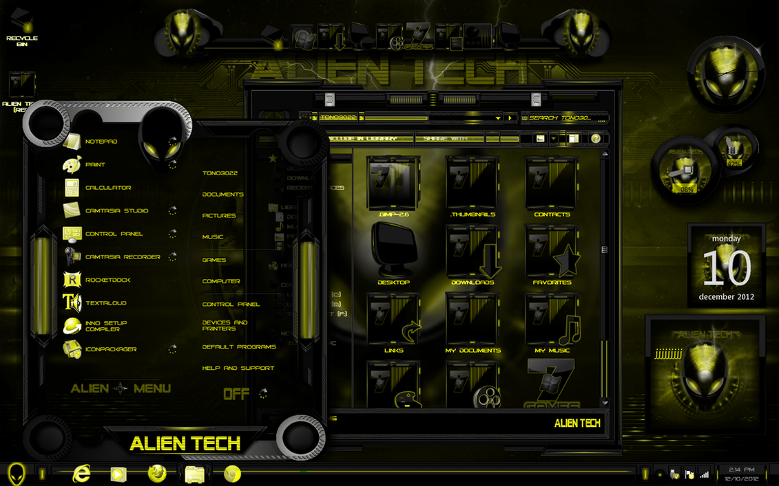 windows 7 themes alien tech in yellow by tono3022