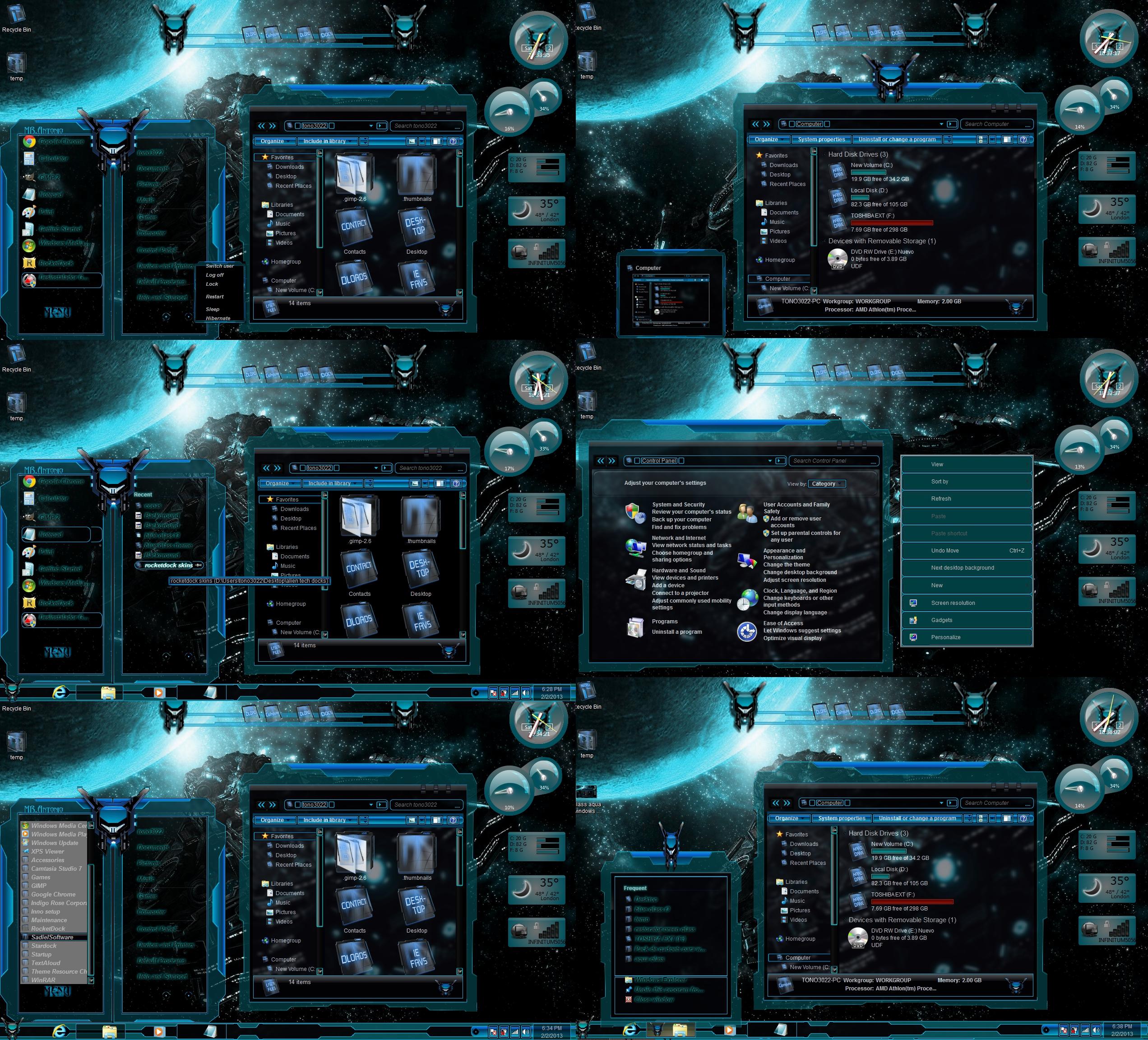Aqua glass windows 7 themes by tono3022 on deviantart for Window 07 themes