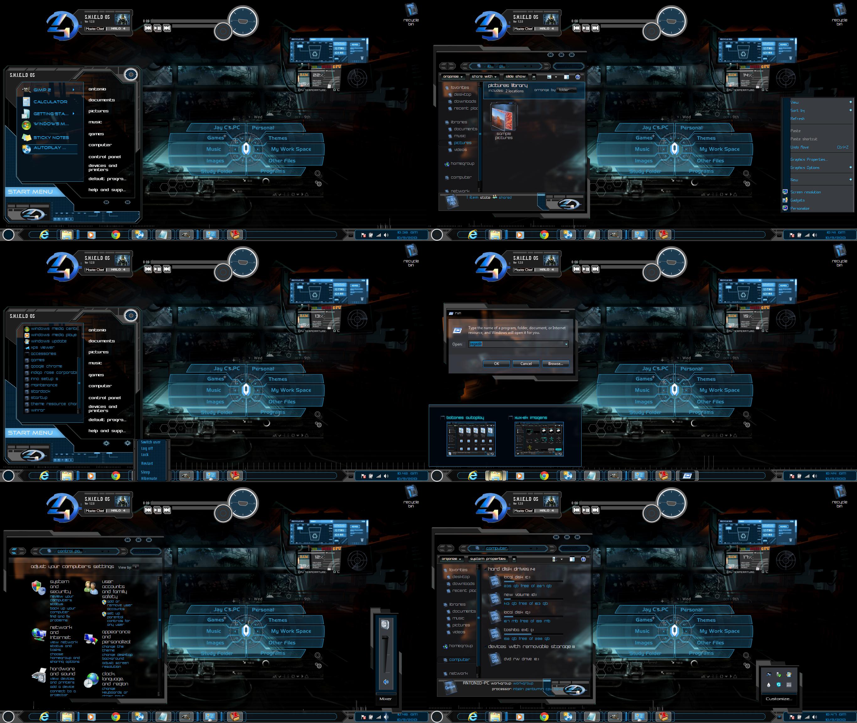 Windows 7 themes dark shields by tono3022 on deviantart for Window 07 themes