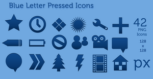 Blue Letter Pressed Icons