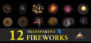 12 Transparent Fireworks Set 1 by HJR-Designs