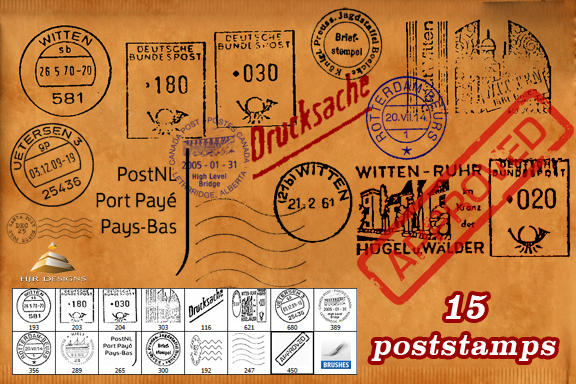 15 POSTSTAMP BRUSHES by HJR-Designs