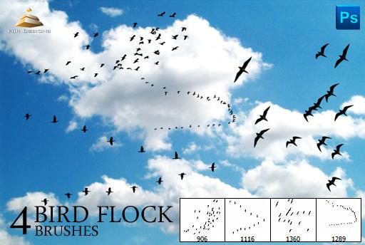 4 Bird Flock Brushes by HJR-Designs