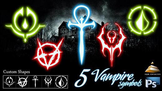 5 Vampire Symbols (Custom Shapes) by HJR-Designs