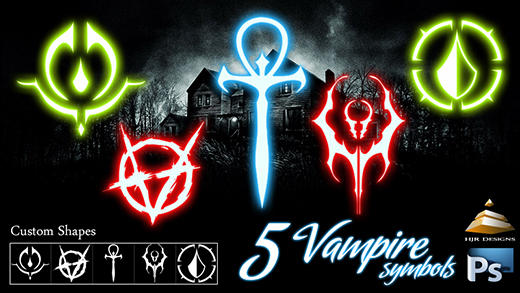 5 Vampire Symbols (Custom Shapes)