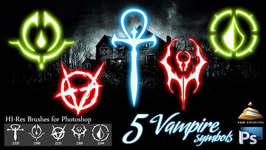 5 HI-Res Vampire Symbols (Brushes)