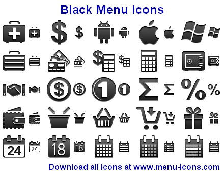 Black Menu Icons by Ikont