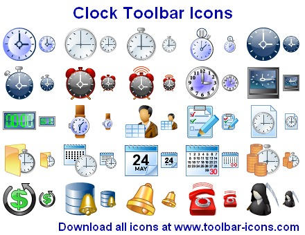 Clock Toolbar Icons by Ikont