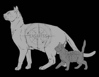 FREE Line Art - Mommy and kitten by CasArtss