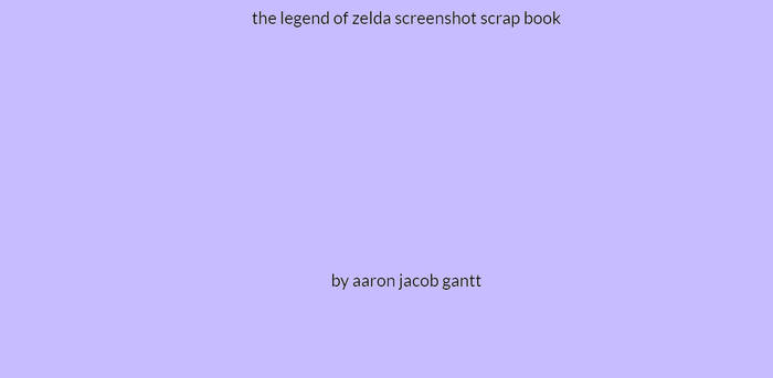 My Fanmade The Legend Of Zelda Screenshot Book
