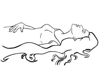Girl Sleeping - Line Art