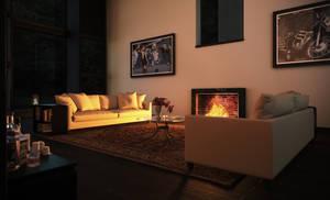 interior living room noon render