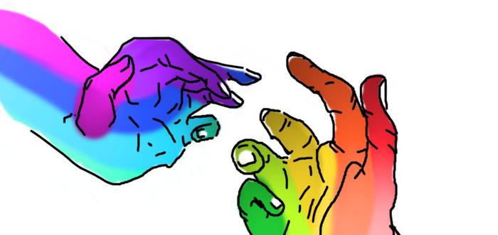 Drawing hands practice sheet.