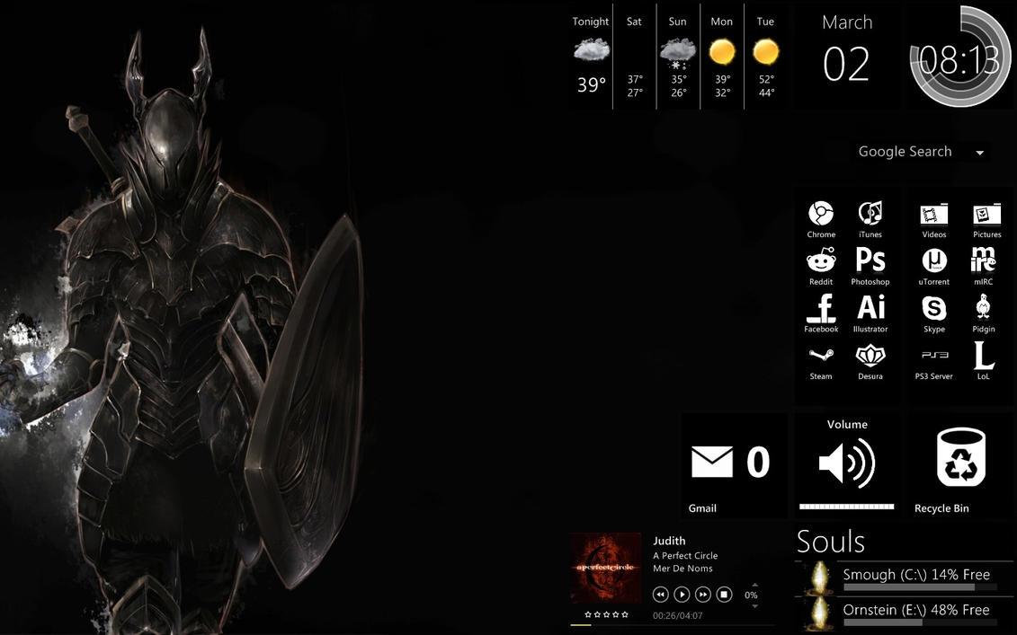 Black themes for gmail - Dark Souls Rainmeter Theme By Eldritchsense