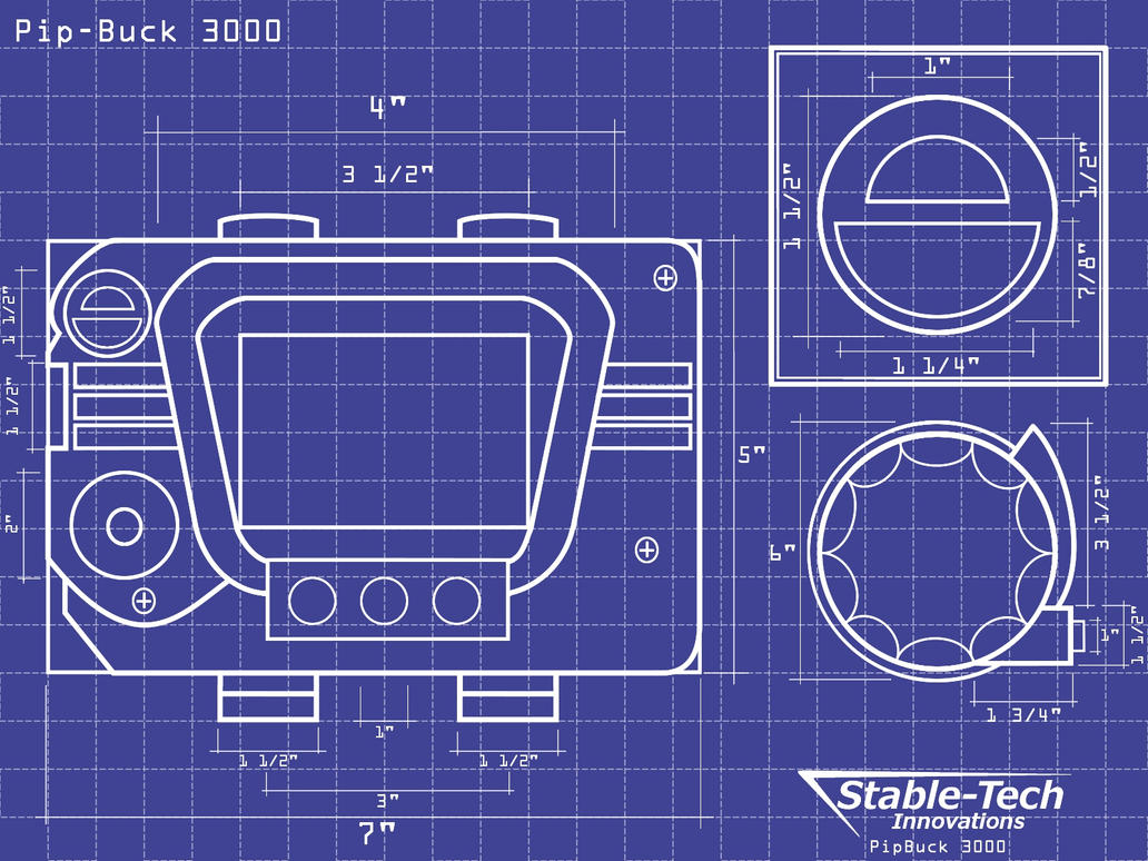 Pip Buck 3000 Blueprints Wallpaper by L9OBL