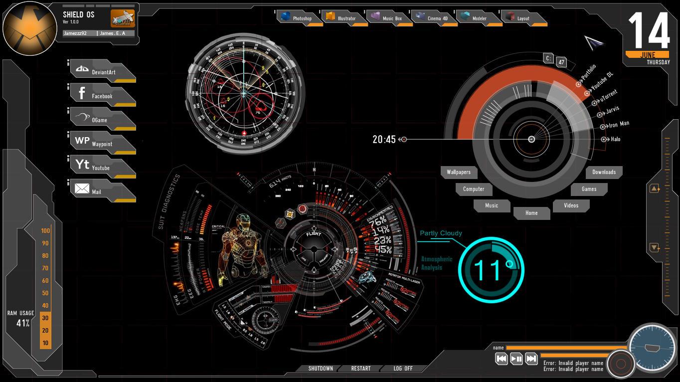 Animated 3d wallpaper jarvis interface - Avengers Rainmeter Skin By Jamezzz92