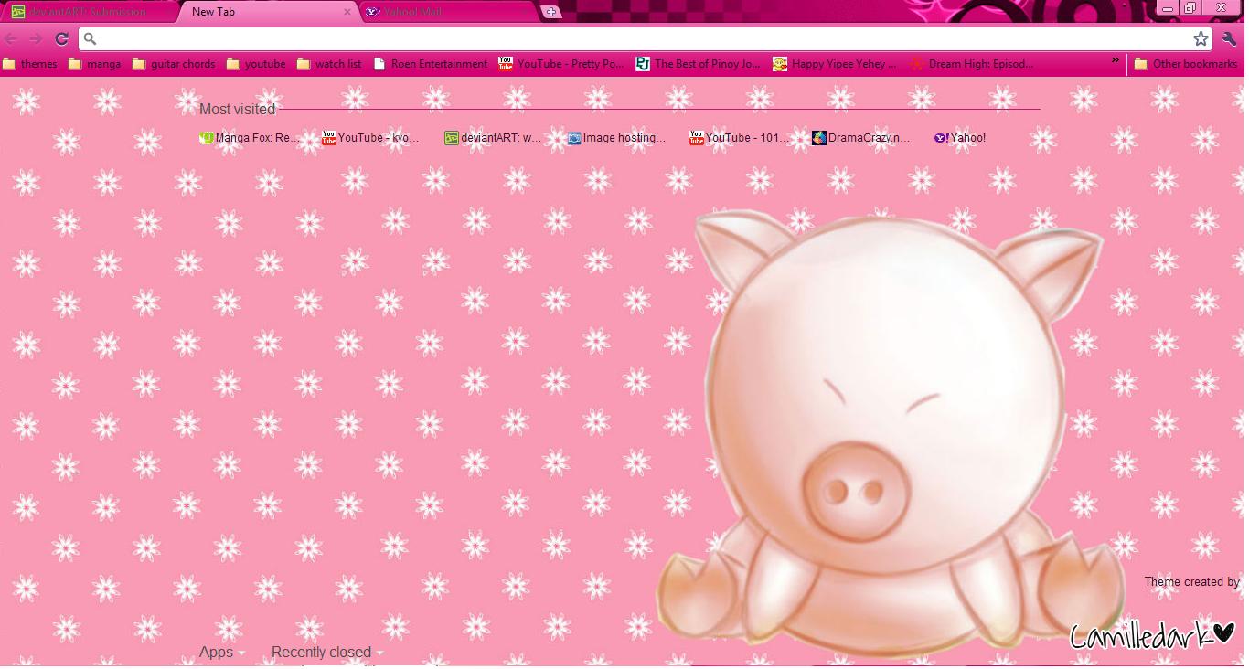 Google themes fox -  Cute Pig Theme 4 Google Chrome By Kyoyaanime