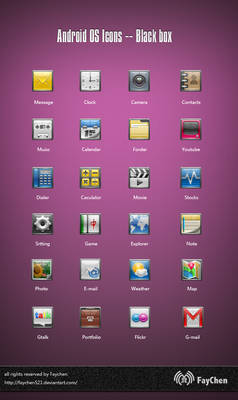 Android OS Icons -- Black box
