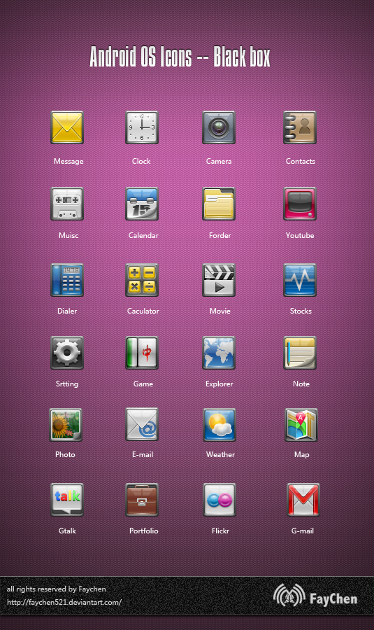 Android OS Icons -- Black box by Faychen521