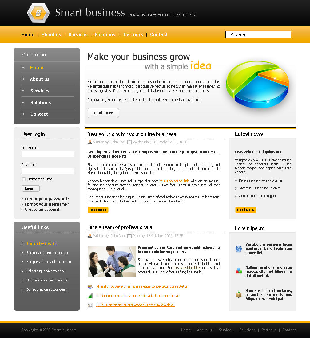 Smart bussines free psd 2 by andrei oprinca on deviantart for Cool dreamweaver templates