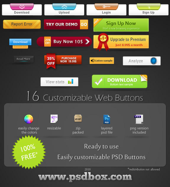 Free 16 web buttons PSD file