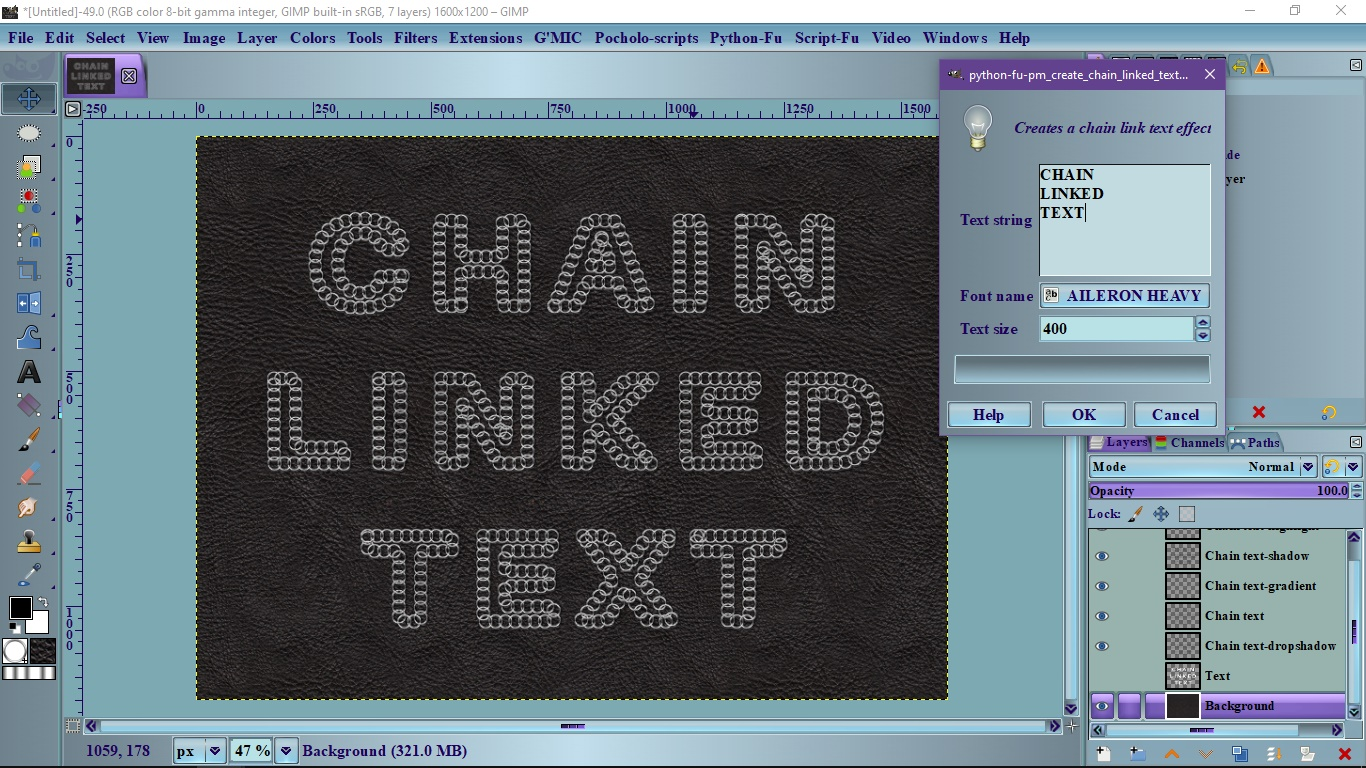 pm create chain linked text effect V2