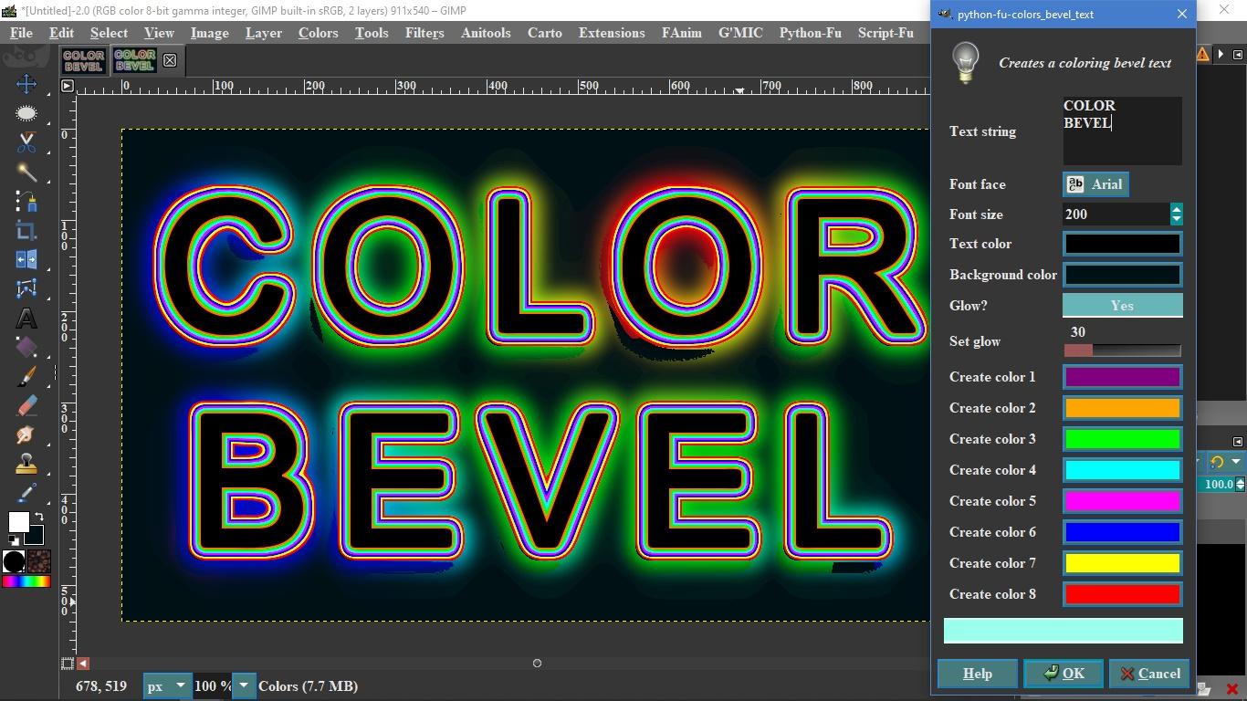 Color Bevel Text plugin