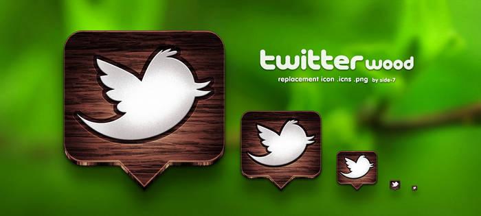twitter wood icon