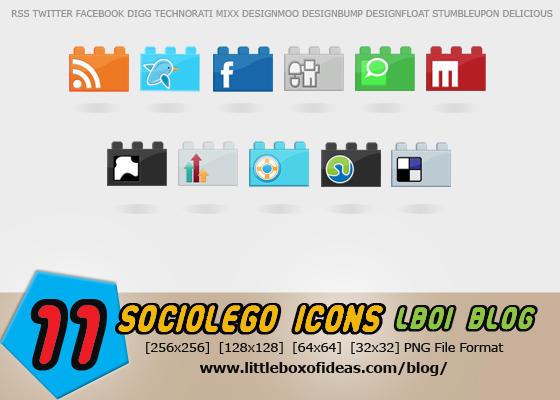 SocioLEGO Lego Social Icon Set by littleboxofideas