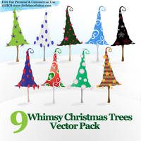 Whimsy Christmas Trees Vectors