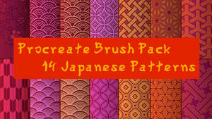 14 Japanese Style Pattern Brushes for Procreate