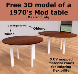 Free 3D Model of a 1970's Mod Table [Blender-made]