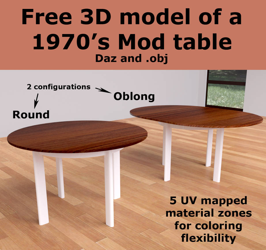 Free 3D Model of a 1970's Mod Table [Blender-made] by luqu