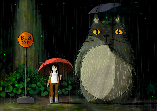 Totoro rain scene-Hetalia by MIHETIGRVO