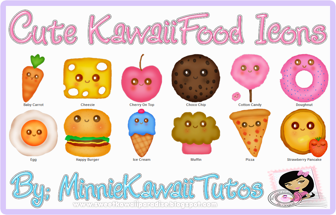 Cute Kawaii Food Characters Fast Food Sweet Fruit Royalty Free ...