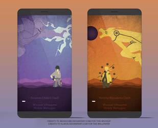 Kurama and Susanoo Clash Mobile Wallpaper