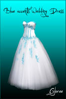 Blue accents wedding dress by Gloree