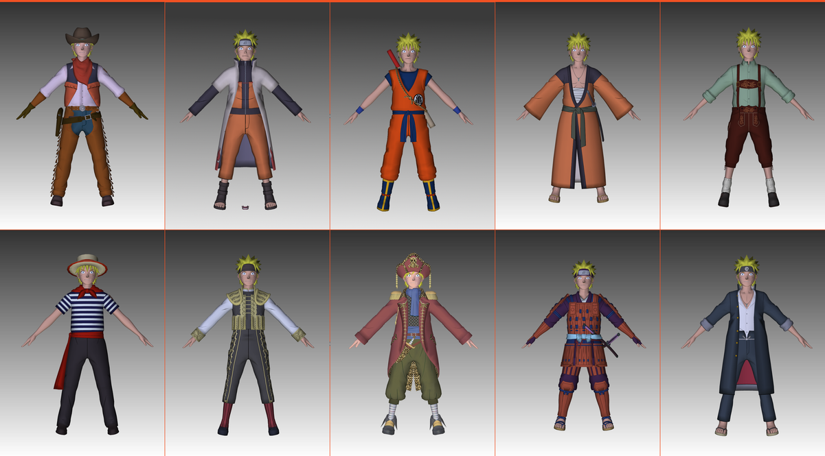 naruto uzumaki all dlc models by loriscangini on deviantart