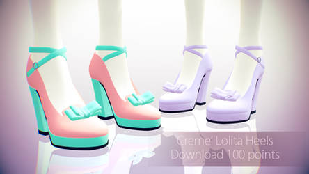 MMD Download||Creme' Lolita Heels|| 100 Points by Polygon-P