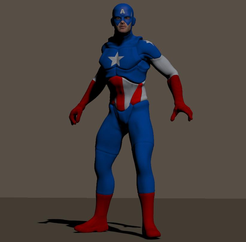 Cap America textures for Xurge 3d flexxsuit