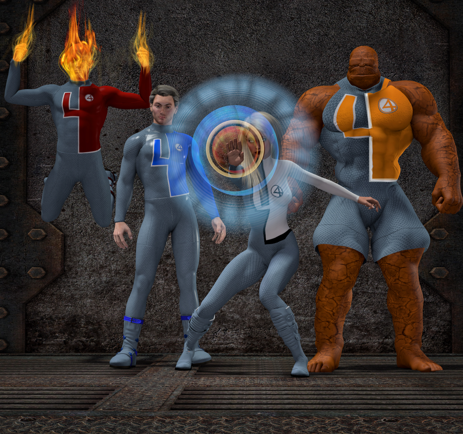 Fantastic Four textures for Daz3d M4 e V4 bodysuit