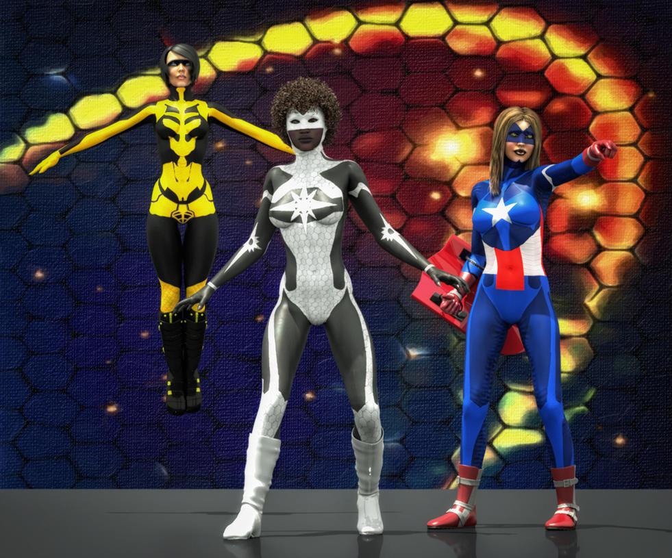 Super heroines marvel's 2nd skin for V4 by hiram67