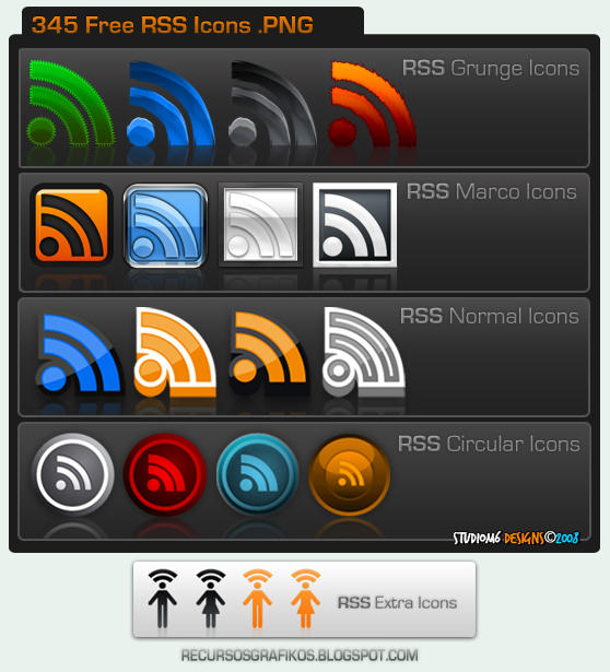 345 Free RSS  Icons by Studiom6