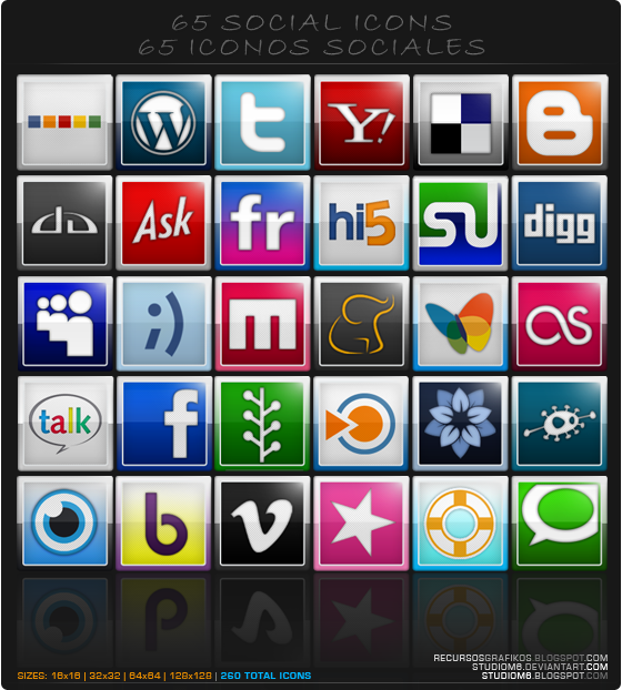 65 Bookmarks And Social Icons