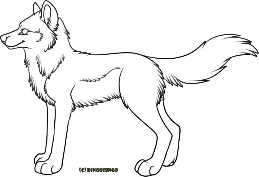 039 - Free Wolf Lineart - PAINT FRIENDLY + PSD