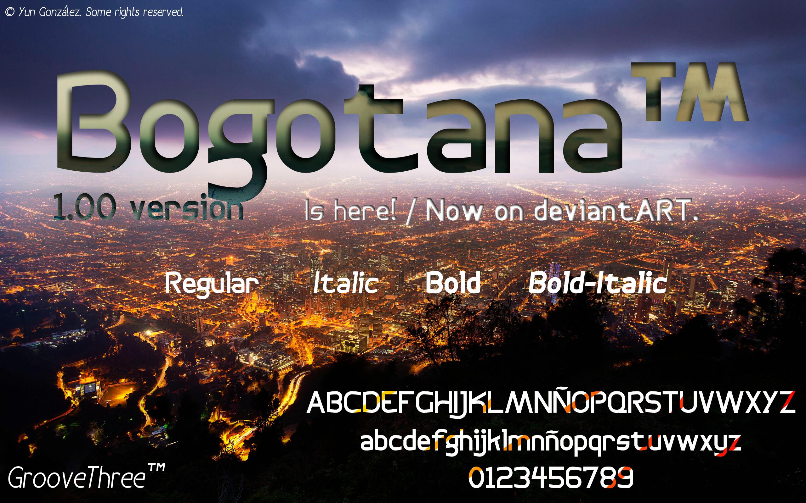 Bogotana typeface: version 1.00 by G3Drakoheart-Arts