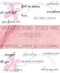 Song Titles and Lyrics 03