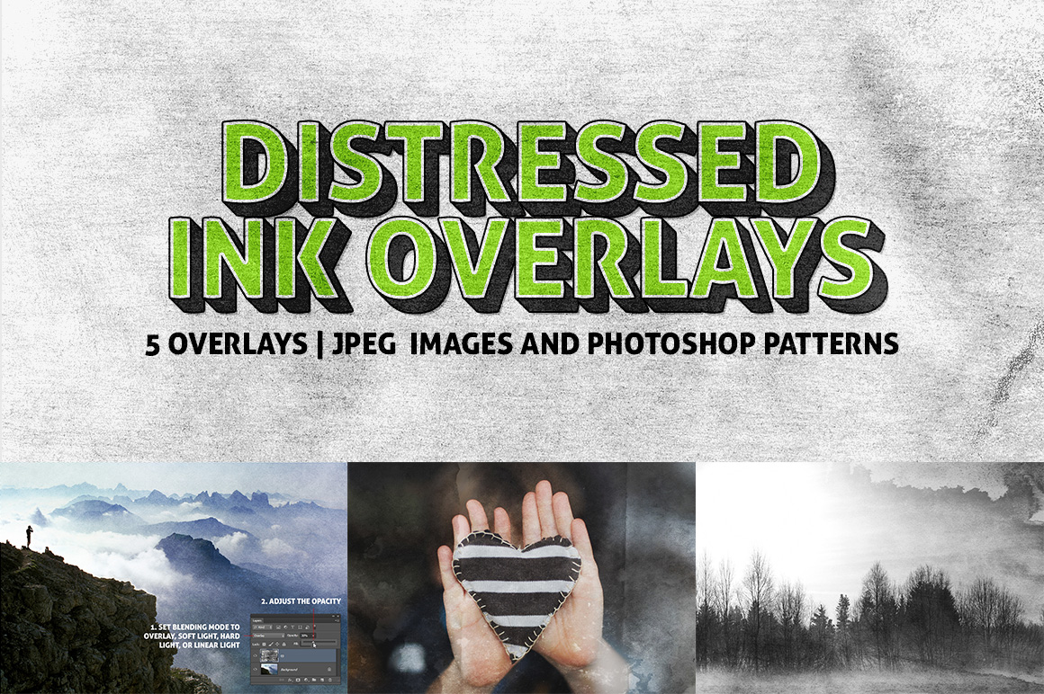 5 Distressed Ink Overlay Textures by pstutorialsws